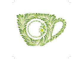 绿色植物茶杯图案主题时尚矢量素材装饰素材