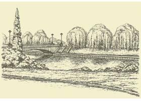 复古单色古典欧洲风景手绘装饰插画设计