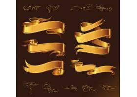 欧式金色花纹边框缎带主题装饰素材
