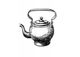 单色手绘水壶主题矢量装饰素材