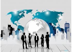 全球商业商务人士手绘插图