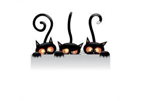 黑色卡通魔法猫咪