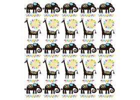 长颈鹿大象儿童卡通动物形象无缝装饰背景