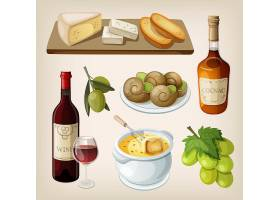 西餐甜品面包红酒餐饮美食主题矢量插画元素
