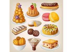西餐甜品面包餐饮美食主题矢量插画元素
