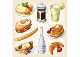 西餐甜品餐饮美食主题矢量插画元素