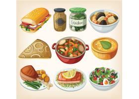 西餐甜品餐饮美食主题矢量插画