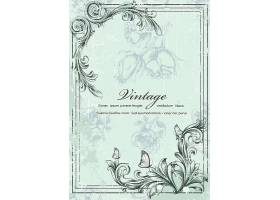 创意欧式文艺植物花卉边框花纹蝴蝶邀请函封面设计