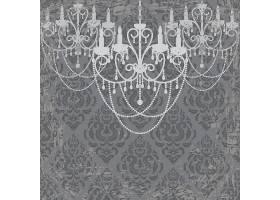 复古欧式花纹背景与欧式灯饰插画