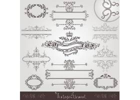 单色欧式贵族时尚简洁花纹边框英文标签素材