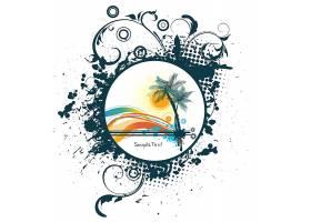 夏日椰树主题装饰标签插画设计