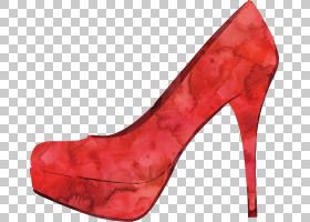 水彩画,高跟鞋,基本泵,绘画,鞋类,绘图,水彩画,鞋,高跟鞋,红色,