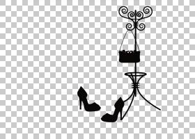 黑线背景,黑白,线路,黑色,剪影,帽子,手提包,鞋,衣架,高跟鞋,服装