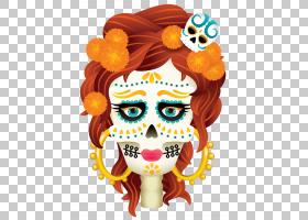 死亡头骨之日,骨,橙色,头盔,脸,花,头部,猫头鹰,蜡烛,国际农村妇