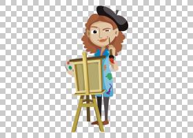 水彩卡通,卡通,雕像,职业,玩具,播放,山水画,水彩画,女艺术家,调