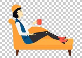 女卡通,家具,男性,线路,表,橙色,椅子,卡通,坐着,女人,绘图,马克