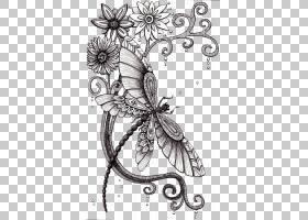 黑白花,传粉者,植物群,视觉艺术,黑白,花卉设计,线路,昆虫,蝴蝶,