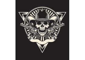 单色骷髅牛仔抢手图标徽章设计