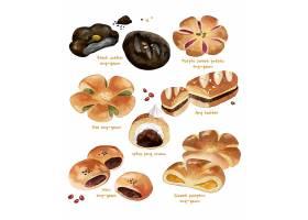 手绘小清新甜品面包糕点主题插画设计