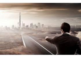 商务男士与虚拟现实场景融合主题概念海报设计