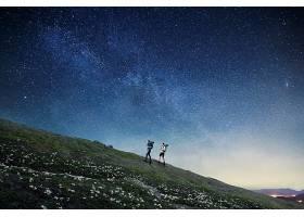 唯美星空下的夜景主题简洁海报背景