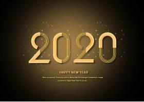 金色2020年立体字设计