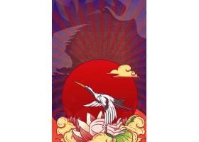 中式大气国潮风装饰插画海报背景