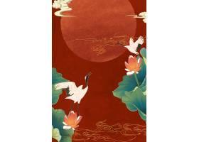 仙鹤国潮背景图