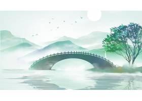拱桥山水画