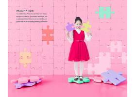 天真儿童童心与少儿梦想拼图主题海报设计