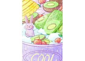 美味水果冰冻水果捞素材