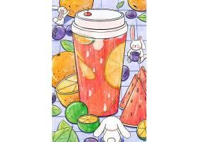 冰爽水果饮料素材手绘风海报