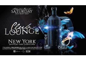 香槟鸡尾酒主题新年黑色背景海报设计