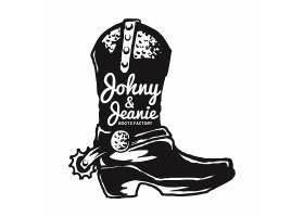复古西部风格牛仔鞋徽章图标LOGO插画设计