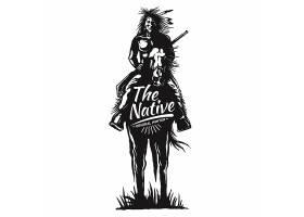 复古西部风格徽章印第安人图标LOGO插画设计