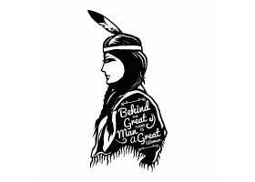 单色印第安妇女插画设计