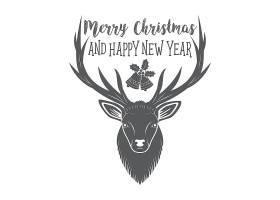 单色的圣诞物品装饰元素英文主题标签设计
