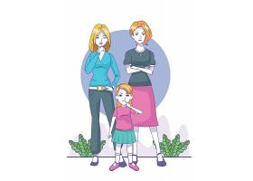 时尚手绘简洁女性与卡通小女孩小女孩插画设计