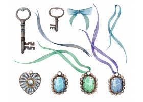 手绘水彩宝石主题装饰插画
