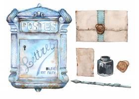 手绘水彩信封信纸主题装饰插画