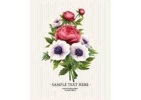 红色植物花卉牡丹花主题装饰标签设计