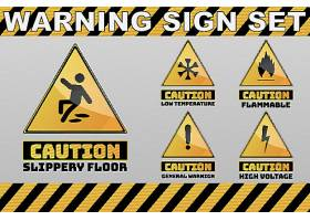 黄色常见警示标识设计