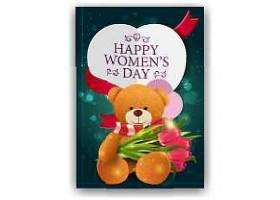 红色郁金香妇女节背景海报