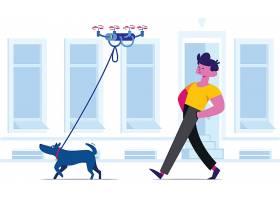 无人机遛狗主题扁平化网页插画设计