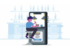 手机平台外卖主题扁平化网页插画设计