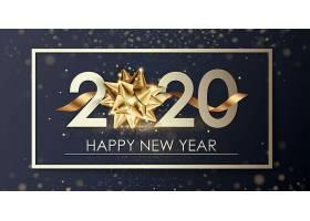 黑金金粉背景气球装饰元素2020新年快乐主题装饰素材