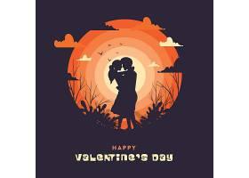 插画风情侣相拥情人节标签主题浪漫情人节装饰背景