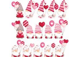 圣誕老人與愛心氣球裝飾元素