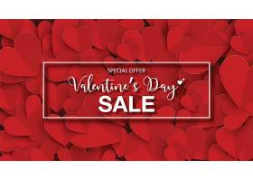 剪紙紅色愛心浪漫情人節主題標簽裝飾背景