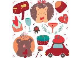 可愛插畫風浪漫情人節主題標簽裝飾背景